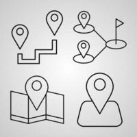 Set of Vector Line Icons of Navigation and Maps