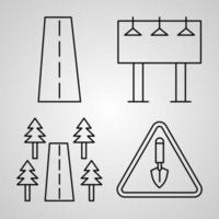 Simple Icon Set of Navigation and Maps Related Line Icons vector