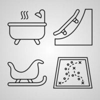 Simple Icon Set of Ski Resort Related Line Icons vector