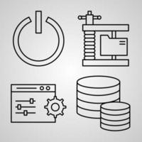 Networking Line Icons Set Isolated On White Outline Symbols Networking vector