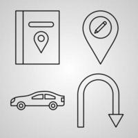 Collection of Navigation and Maps Symbols in Outline Style vector