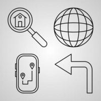 Navigation and Maps  Collection of Vector Symbol in Trendy Outline