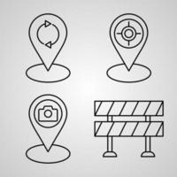 Set of Thin Line Flat Design Icons of Navigation and Maps vector