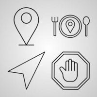 Navigation and Maps Line Icons Set Outline Symbols Navigation and Maps vector