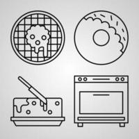 Set of Vector Line Icons of Bakery