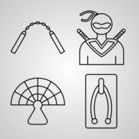 conjunto de iconos de diseño plano de línea delgada de artes marciales vector