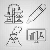 Set of Thin Line Flat Design Icons of Chemistry vector