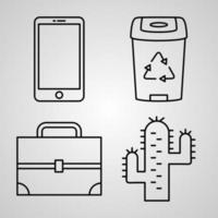 Outline Organization Icons isolated on White Background vector
