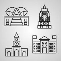 Simple Icon Set of Monuments Related Line Icons vector