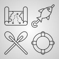Fishing Line Icons Set Isolated On White Outline Symbols Fishing vector