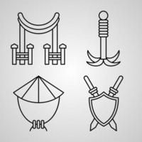 Martial Arts Symbol Collection On Martial Arts Outline Icons vector