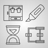 Collection of Organization Symbols in Outline Style vector