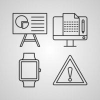 Computer Symbol Collection On White background Computer Outline Icons vector