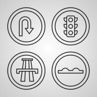 Road Signs Line Icons Set Isolated On White Outline Symbols Road Signs vector
