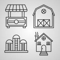 Village Line Icons Set Isolated On White Outline Symbols Village vector