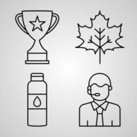 Collection of Hockey Symbols in Outline Style vector