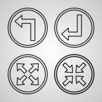 Arrows Line Icons Set Isolated On White Outline Symbols Arrows vector