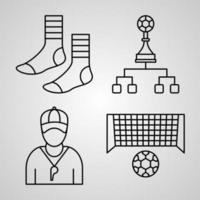 Collection of Soccer Symbols in Outline Style vector