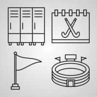 Hockey Line Icons Set Isolated On White Outline Symbols Hockey vector