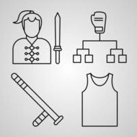 Collection of Martial Arts Symbols in Outline Style vector
