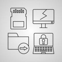 Collection of Computer Symbols in Outline Style vector