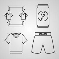 Soccer Symbol Collection On White background Soccer Outline Icons vector