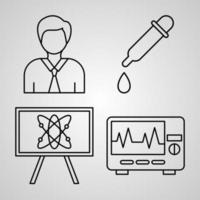 Chemistry Line Icons Set Isolated On White Outline Symbols Chemistry vector