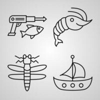 Collection of Fishing Symbols in Outline Style vector