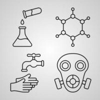 Chemistry Symbol Collection On Chemistry Outline Icons vector