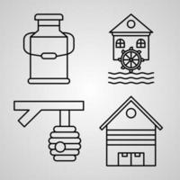 Collection of Village Symbols in Outline Style vector