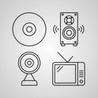 Set of Computer Icons Vector Illustration Isolated on White Background