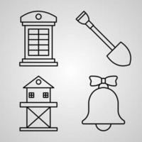 Set of Village Icons Vector Illustration Isolated on White Background