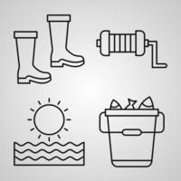 Fishing Line Icon Set Collection of in Trendy Outline Style vector