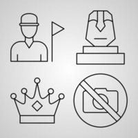 Museum Line Icon Set Collection of  in Trendy Outline Style vector