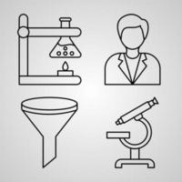 Chemistry Line Icon Set Collection of in Trendy Outline Style vector