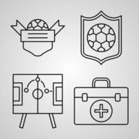 Soccer Line Icon Set Collection of  in Trendy Outline Style vector