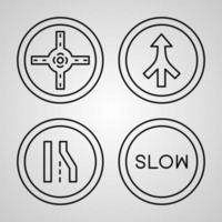 Road Signs Line Icon Set Collection of in Trendy Outline Style vector