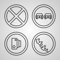 Road Signs Symbol Collection On Road Signs Outline Icons vector