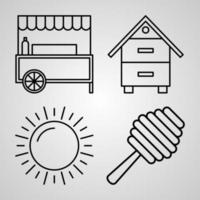 Village Line Icon Set Collection of  in Trendy Outline Style vector