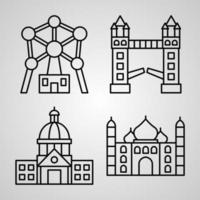 Monuments Symbol Collection On Monuments Outline Icons vector