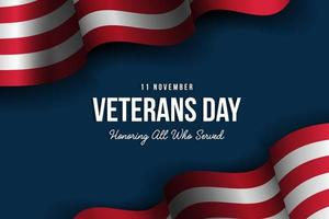 veterans day background with realistic american flag. honoring all who served vector