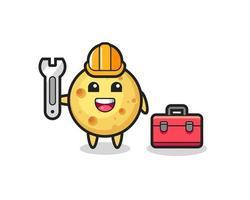 Mascot cartoon of round cheese as a mechanic vector