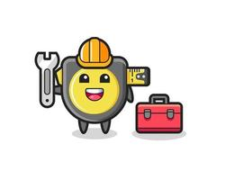 Mascot cartoon of tape measure as a mechanic vector