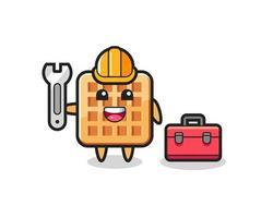 Mascot cartoon of waffle as a mechanic vector