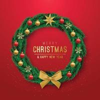 Realistic Christmas Wreath on red background vector