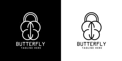 locked butterfly logo brand vector