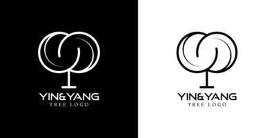 yin and yang tree logo brand vector