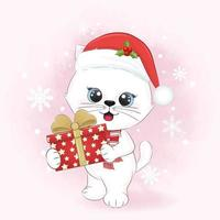 Cute cat with gift box in winter and Christmas illustration. vector