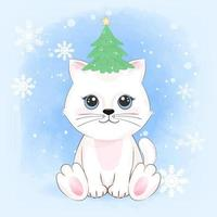 Cute cat and christmas tree on head winter, Christmas seson vector