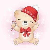 Cute little bear and candy cane, Christmas season illustration vector